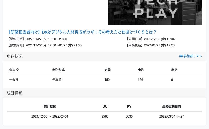 イベント管理画面 統計ページ